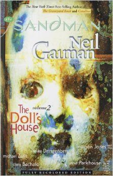 Availability: http://130.157.138.11/record=b3791696~S13 The Sandman, Vol. 2: The Doll's House by Neil Gaiman.  During Morpheus's incarceration, three dreams escaped the Dreaming and are now loose in the waking world. At the same time, a young woman named Rose Walker is searching for her little brother.