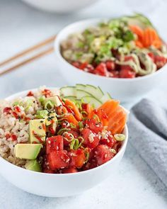 This vegan watermelon poké bowl is even better than what I used to order at the beach. It& sweet savory, and customizable for a refreshing summer meal. Vegan Lunch Recipes, Vegan Dinners, Healthy Recipes, Vegan Lunches, Avocado Recipes, Eat Healthy, Vegan Food, Poke Bowl, Avocado Toast