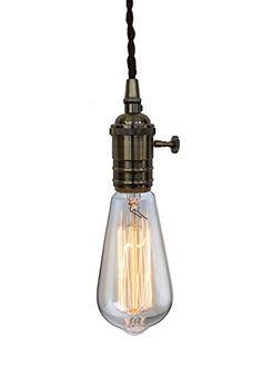 PureLumeTM Vintage Alt-Messing Rendel Schmucklampe Pendeleuchte Hängelampe mit Edison 40W Glühbirne