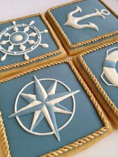 Nautical Cookies - Set of 8 Orange Vanilla Spice Cookies. via Etsy. Spice Cookies, Fancy Cookies, Cute Cookies, Royal Icing Cookies, Cupcake Cookies, Crown Cookies, Fondant Cookies, Melting Moments Cookies, Nautical Cake