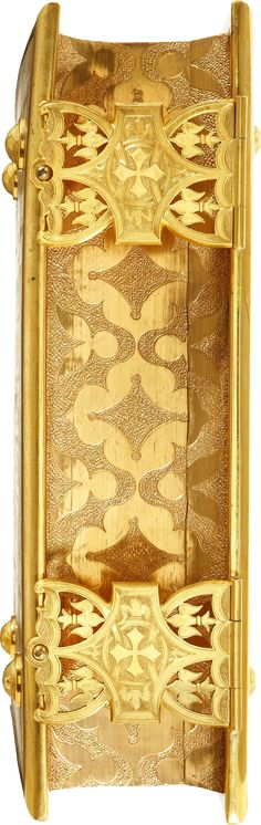 Bible Associated with Queen Victoria's Coronation in a Stunning Deluxe Full Vellum Binding. Contemporary full vellum, elaborately panelled and decorated in gilt on both covers and spine, bronze edges on boards and with decorative bronze clasps and feet, gilt turn-ins, silk moiré endliners, all edges gilt and sumptuously gauffered edges.