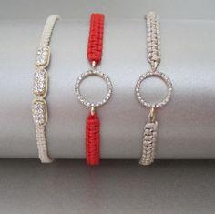 Macrame Bracelet with CZ Accents by Tangerine Jewelry Shop $32