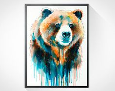 Grizzly bear watercolor painting print , animal, illustration, animal watercolor, animals paintings, animals, animal portrait, bear art