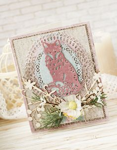 Використані такі товари Spellbinders:  Ножі: Foxy IN-027, Oval Majesty S4-493, A2 Tranquil Moments S5-216, Oval Bliss S4-474, Pierced Rectangles SCD-012. Автор: Katerina Zlenko.