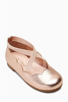 Buy Rose Gold Scallop Ballet Shoes (Younger Girls) from the Next UK online shop