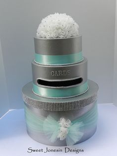 Silver Wedding Card Box Tiffany Blue Bling Ribbon by SweetJonesin, $125.00