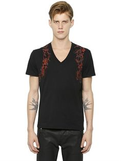 HARNESS PRINTED COTTON V-NECK T-SHIRT