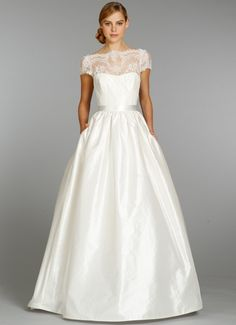 Beautiful ivory shantung ball gown with Alencon lace illusion bateau neckline and cap sleeves | 2357 from Tara Keely