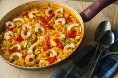 DELICIAS CÁ DE CASA: Paella de bacalhau e camarão