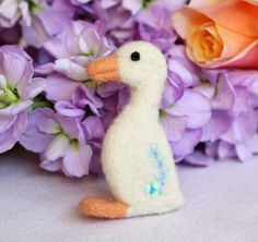 Needle Felted White Duck Spring Duckling by Middlemistmakes1