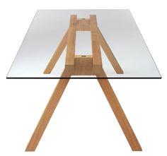Arik Levy Beam Table - Beam, conference- or dining table. Leg base in oak veneered plywood. Granite Dining Table, Glass Top Dining Table, Dining Tables, Oak Veneer Plywood, Trestle Table, Office Table, Wood Furniture, Office Furniture, Table Legs