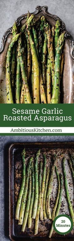 Flavorful sesame garlic roasted asparagus is deliciously seasoned and cooked to crunchy perfection. This easy asparagus recipe comes together in just 20 minutes for the best Spring side dish! #veggies #vegetables #easter #sidedish #healthyeating #glutenfreerecipes #veganrecipes