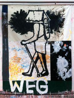 Hermann Josef Hack, WEG, 150710, painting and spray paint on tarpaulin, 315 x 246 cm, 2015