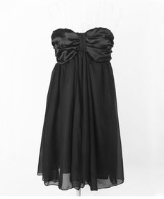 Stylish Black Chiffon Draped Strapless Dress