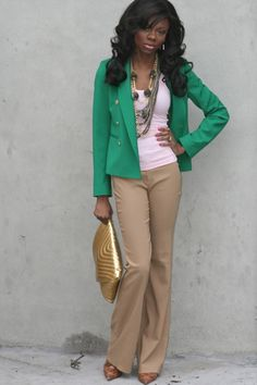 #Recreate #Accessorize Love the color of this blazer! The color + tangle of necklaces + brightly colored clutch = easy and summery but still a little business-like. Swap the pants for jeans to make it more casual.