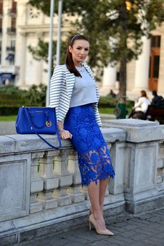 @roressclothes closet ideas #women fashion outfit #clothing style apparel Striped Blazer with Blue Lacey Skirt