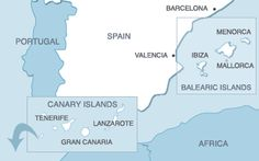 The Canary and Balearic Islands in Spain...