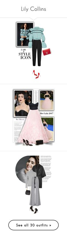 """""""Lily Collins"""" by bliznec-anna ❤ liked on Polyvore featuring Carmen March, Giambattista Valli, Proenza Schouler, Christian Louboutin, lilycollins, GALA, Oscar de la Renta, Jimmy Choo, Peace and Love by Calao and Oscar Tiye"""