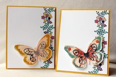 Create a whimsical card by pairing die cut butterfly wings with a wash of watercolor paint. Add a little bit of metallic paper for a bold effect.