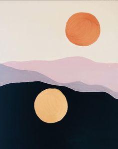 Sunset & Moonrise Painting by Cocorrina Art Inspo, Painting Inspiration, Color Inspiration, Abstract Illustration, Abstract Art, Art Watercolor, Ouvrages D'art, Art Graphique, Grafik Design