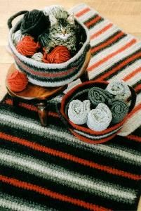 Bev Galeskas for Fiber Trends Crocheted Felt Rug & Basket Crochet Pattern by RevyntageGoods on Etsy Crochet Pattern Central, Vintage Crochet Patterns, Crochet Blanket Patterns, Crocheting Patterns, Quick Crochet, Knit Or Crochet, Cute Crochet, Thick Yarn, Crocs