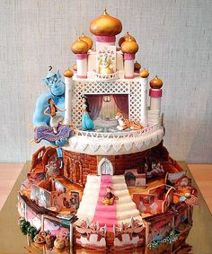 Why there's a Aladdin Castle here ? *No , of course . U are just seeing a fantastic Aladdin Disney Cake ! Pretty Cakes, Cute Cakes, Beautiful Cakes, Amazing Cakes, Crazy Cakes, Fancy Cakes, Pink Cakes, Bolos Cake Boss, Cake Boss Cakes