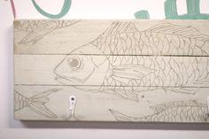 White wooden hanger fish illustrated a project of by littlerocksPK