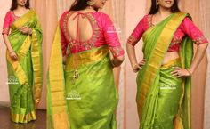 Pv 3221 pink and green price your best this festive season in this lovely number green handloom silk sari finished with gold zari and stone workunstitched blouse piece pink zardosi work blouse piece as shown in the picture for orders please drop Wedding Saree Blouse Designs, Pattu Saree Blouse Designs, Fancy Blouse Designs, Pink Saree Blouse, Stylish Blouse Design, Hand Work Blouse Design, Zardosi Work, Kutch Work, Mint Green