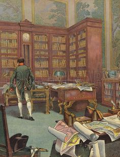 Napoleon Bonaparte consulting maps in his study. Published in Bonaparte, by Georges Montorgueil and illustrated by Job (pseudonym of Jacques Marie Gaston Onfroy de Breville), by Boivin & Cie (publisher), Paris,