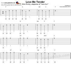 Guitar lesson with free tablature, chords, video tutorial and sheet music. LOVE ME TENDER (Aura Lee) by Elvis Presley easy for beginners. Guitar Tabs And Chords, Easy Guitar Tabs, Guitar Tabs Songs, Guitar Chord Chart, Guitar Sheet Music, Lyrics And Chords, Ukulele Chords, Guitar Notes, Music Lessons