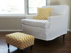 diy tailored slip cover, use these steps for the couch! just a LOT more fabric
