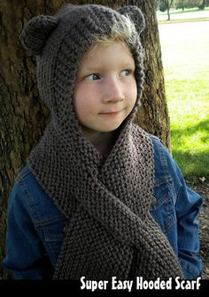 Knitting pattern for Super Easy Hooded Scarf -#ad Combination hat and scarf with self fastening pull through slot and option ears. No seaming or dpns! Sizes: 1-3 years, 4-7 years, 8-12 years (ALL included!) tba animal hat hood keyhole                                                                                                                                                                                 More