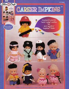 Career Impkins, Fibre Craft  Doll Clothes Crochet Pattern Book FCM443, 8 Outifts Kewpie Cupid Firefighter Cowboy Doctor Nurse