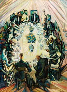 Company around the table - Count Gyula Batthyány, Hungarian, 1887 – 1959 oil on canvas, x cm Global Art, Art Market, Oil On Canvas, Auction, Elegant, Table, Modern Paintings, People People, 1930s