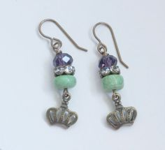 Green Turquoise Bead Earrings Brass by FromTheHipDesigns on Etsy, $30.00