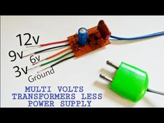 Transformerless Power supply   Multi Volt Power Supply - YouTube Electronics Mini Projects, Computer Projects, Led Projects, Electronics Storage, Electrical Projects, Electronics Components, Arduino Projects, Basic Electronic Circuits, Electronic Circuit Design