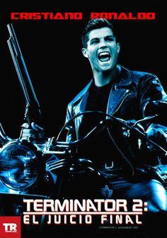 'Terminator 2', con en el actor de moda Cristiano Ronaldo el cual busca el juicio final en las canchas europeas para convertirse en Campeón. Terminator 2, Cristiano Ronaldo, James Cameron, Fifa, Movies, Movie Posters, Champs, Films, Film Poster