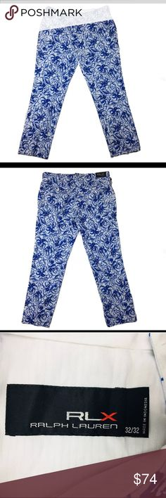 """Lauren RLX Golf pants with aquatic design 32Wx32L A pair of new with tags Ralph Lauren RLX Golf pants. Blue and white color with aquatic design, size 32Wx32L.  Featuring a slight stretch for improved comfort and fit.   Features:  Two front angled pockets. Zip fly with elongated hook-and-bar closure. Back right button-and-loop pocket. Back left buttoned pocket. RLX metal logo located on the back pocket.  Dimensions:-  Length:- 42"""" Waist:- 17"""" (34"""" total - 32"""" on tag) Inseam:- 31""""  Thanks for…"""
