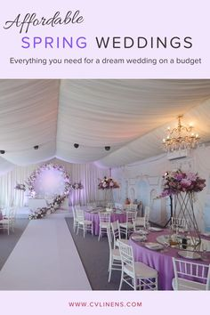 Shop our variety of affordable wedding linens and wedding decorations on a budget as low as $0.39! Click to shop our budget friendly tablecloths, table runners, artificial flowers, centerpieces, draping backdrop, wedding arch backdrops, and more! You don't want to miss these savings on our high quality affordable wedding linens. Spring wedding decorations on a budget for DIY wedding reception parties. Summer wedding decorations on a budget for DIY bride and DIY wedding decorations. Debut Decorations, Wedding Decorations On A Budget, Lavender Wedding Theme, Purple And Gold Wedding, Wedding Reception On A Budget, Wedding Couple Poses Photography, Color Lila, Wedding Linens, Wedding Planning Tips