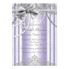 Lavender and Gray Pearl Bridal Shower Card Elegant lavender purple and gray bridal shower invitation. You can easily customize this beautiful lavender and silver bridal shower invitation for your event by adding your details in the font style and color, and wording of your choice. This is a printed design with no real jewels, pearls, glitter, etc.