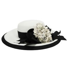 Frank Olive Two-Tone Hat with Bow and Flowers #VonMaur