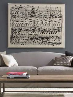 The space above a couch can be a challenge to fill. Large art can often cost an arm and a leg, so why not channel your inner Mozart and decorate with musical notes -- especially if you're a musician or even just a music lover! This one's straight from the Mitchell Gold + Bob Williams catalog, but feel free to compose your own arrangements.