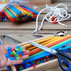 Straw beads! Easy fine motor exercise AND craft project