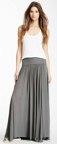 Long Grey Maxi Skirt | Pleated Cotton Skirt With Pocket | Grey ...