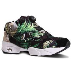 Reebok InstaPump Fury JG Women's Retro Running Shoes in Jungle Gurl-Black / White
