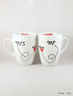 Gastgeschenke - Mr Right Mrs always Right Tasse Hochzeitsgeschenk - ein Designerstück von Lovely-Cups bei DaWanda