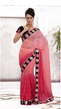 d881b441dd Picture of Elegant Peach Color Resham Work Saree for Party. Indian Bridal  SareesIndian ...