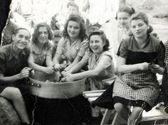 Peeling potatoes at the Cremona DP camp, Italy, 1945