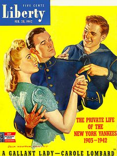 A WWII sailor cuts in on a dance between another soldier and his pretty companion on this 1942 cover of Liberty magazine illustrated by John Newton Howitt.