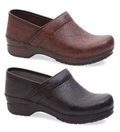 Dansko® Women's Pro XP Floral Tooled Leather Clogs in Brown. Lighter brown than the ones I have now with a much softer footbed.